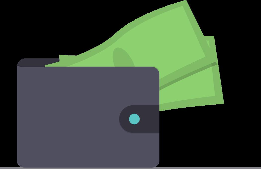 Eine Geldbörse mit grünen Scheinen