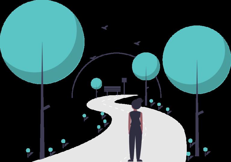 Eine Dame am Eingang eines Parks