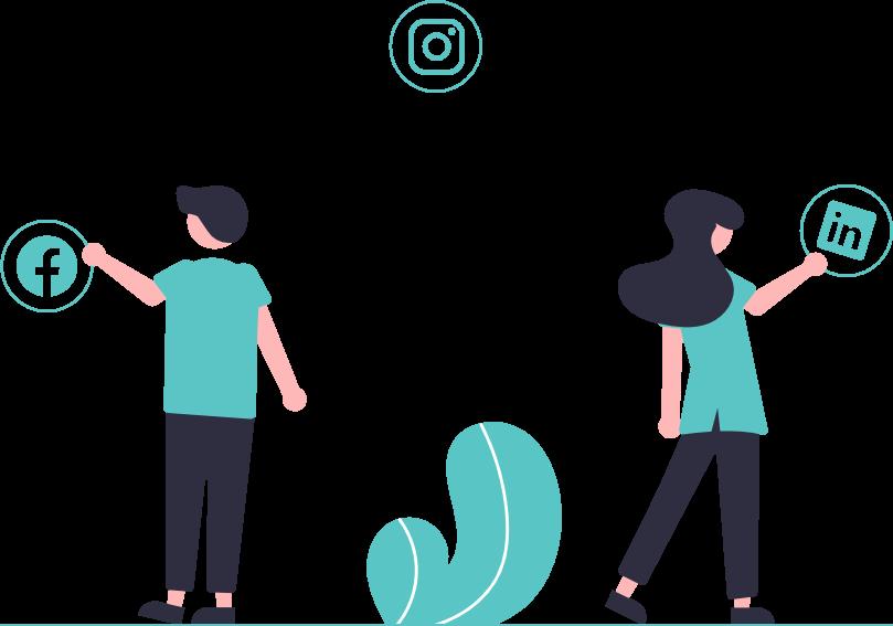 Zwei Menschen mit drei Social Media Icons