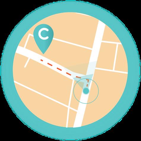 Eine Karte mit eingezeichnetem charge7 Standort