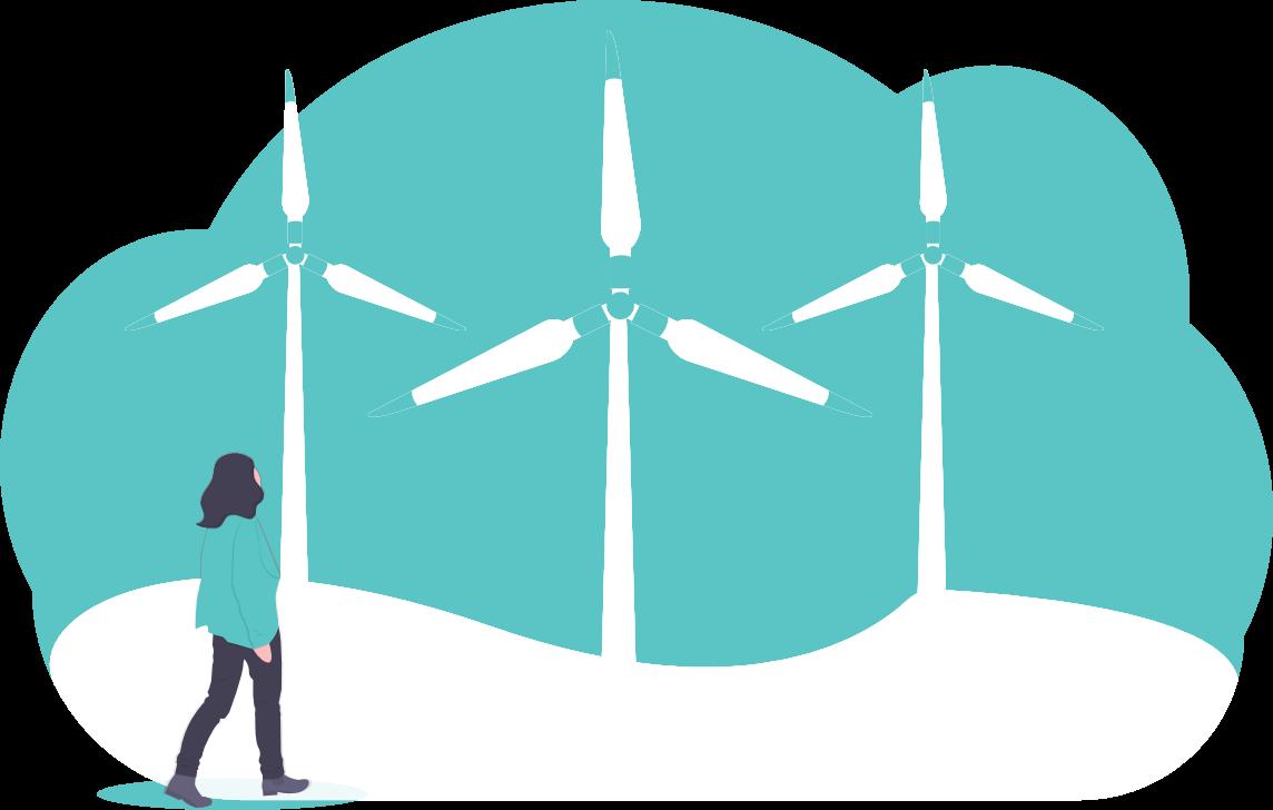Ein Bild von einer Dame und drei Windkraftwerken