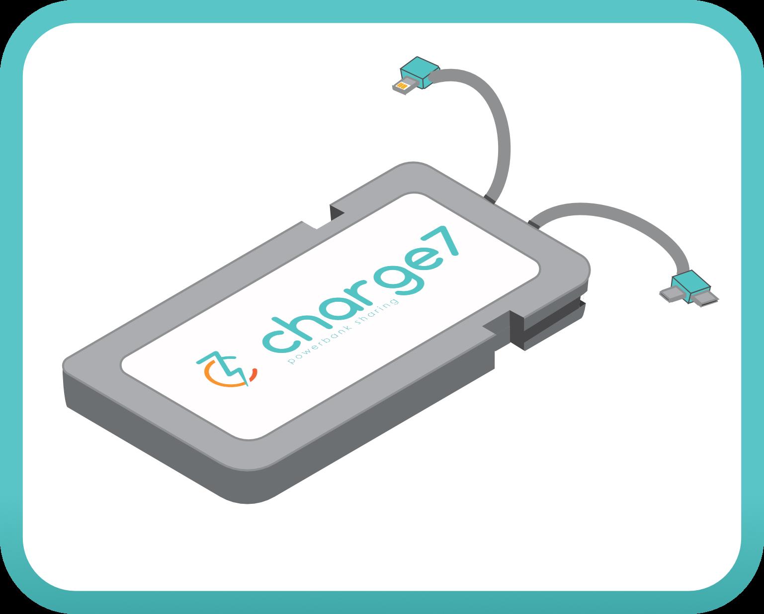 Eine charge7 Powerbank mit Ladekabeln