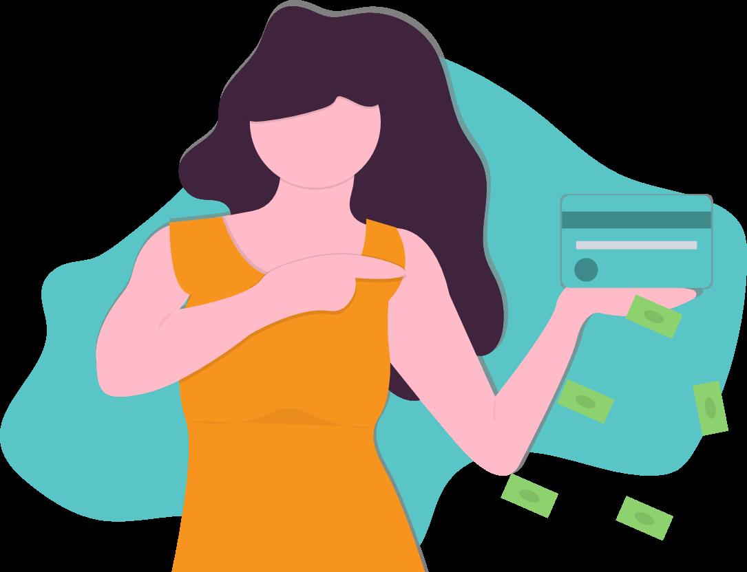 Eine Dame mit einer Kreditkarte in der Hand